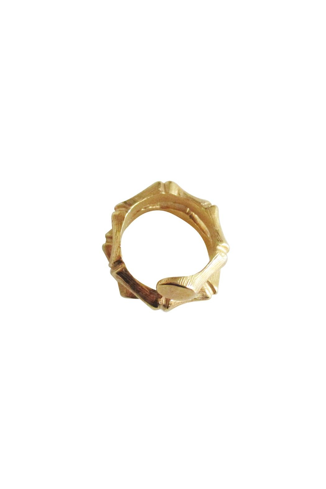 Malia Jewelry Gold Bamboo Ring - Side Cropped Image