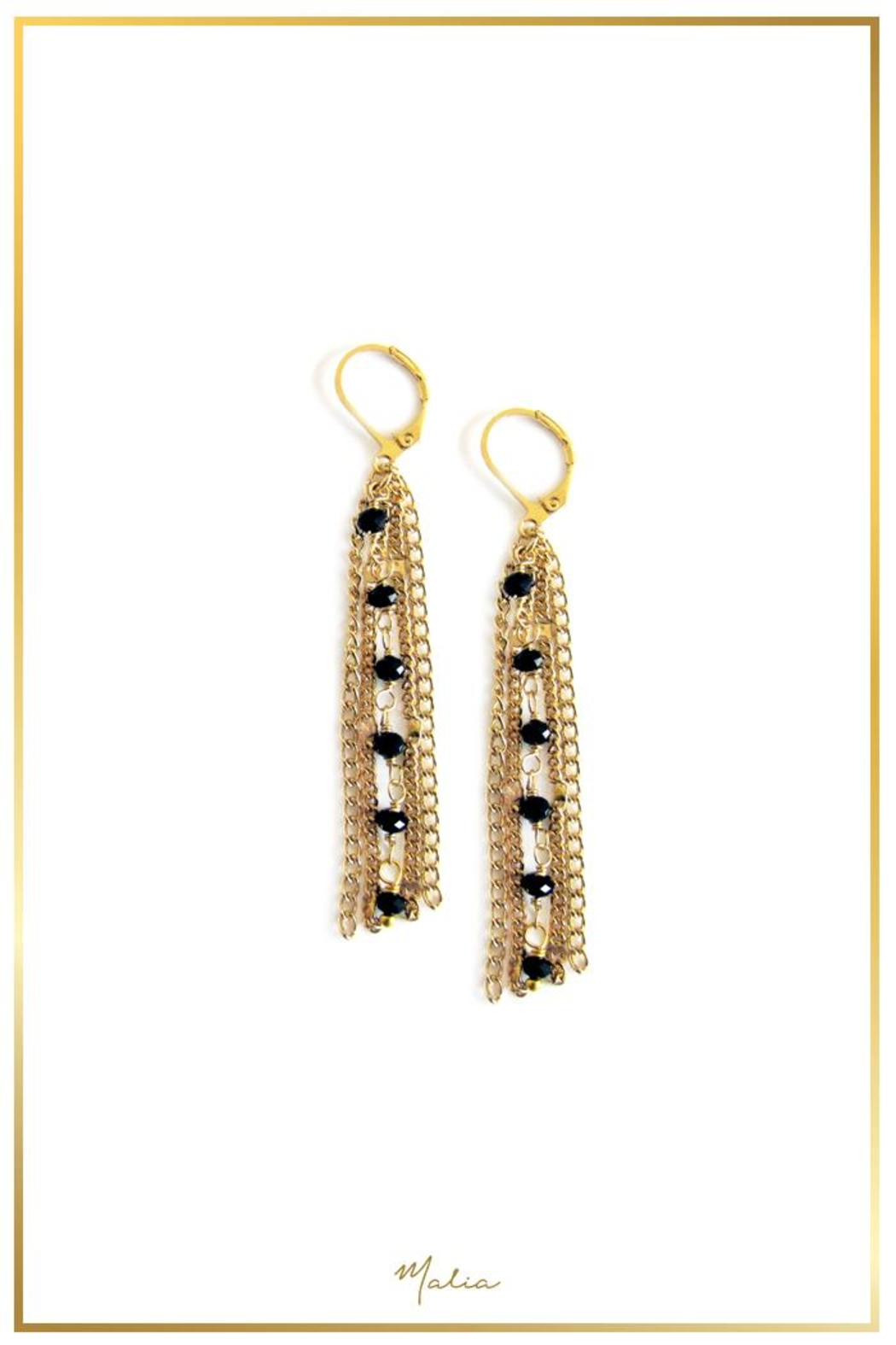 Malia Jewelry Gold Chain Earrings - Front Cropped Image