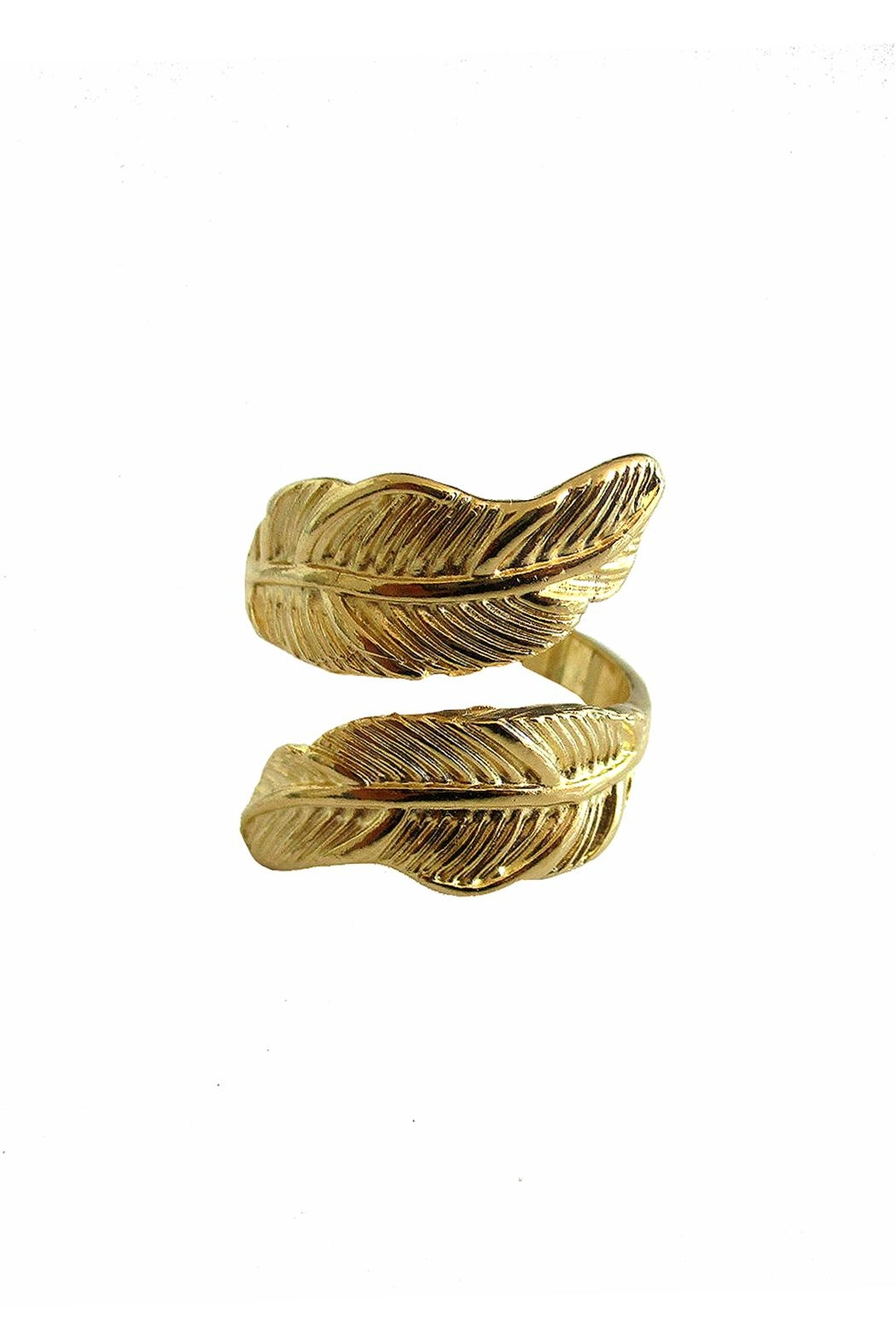Malia Jewelry Gold Double Leaf Ring - Front Cropped Image