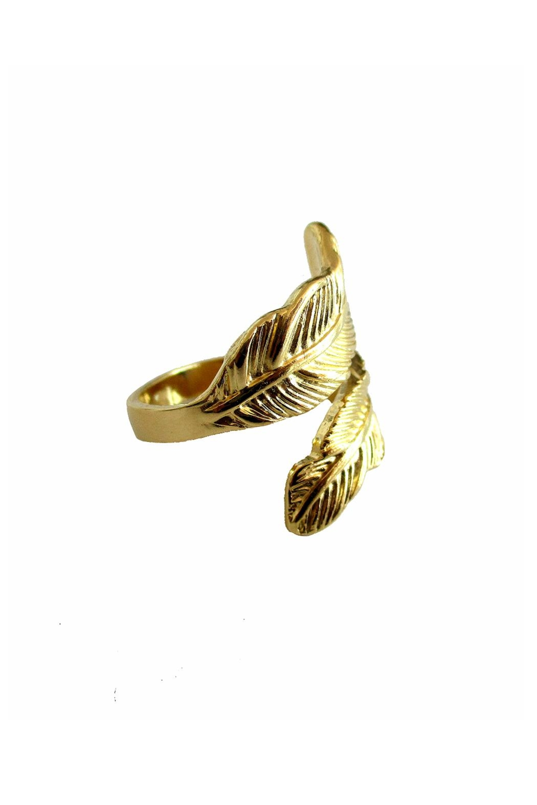 Malia Jewelry Gold Double Leaf Ring - Front Full Image