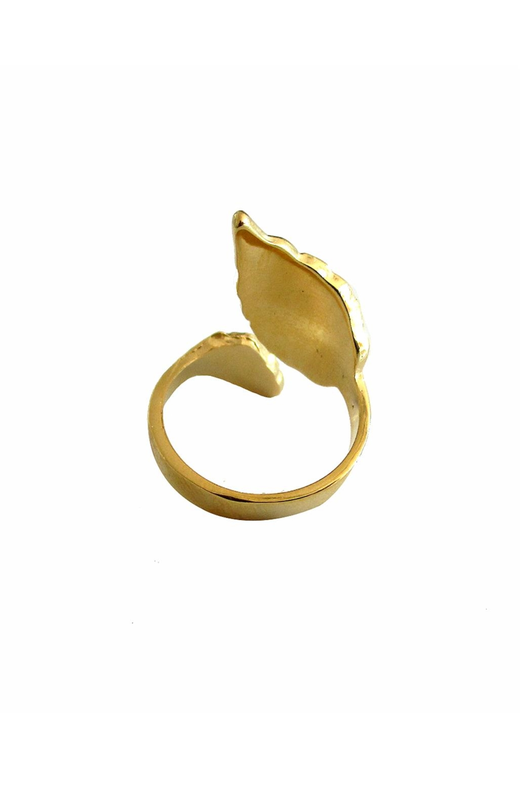 Malia Jewelry Gold Leaf Ring - Side Cropped Image