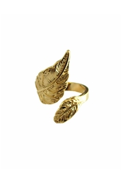 Malia Jewelry Gold Leaf Ring - Front full body