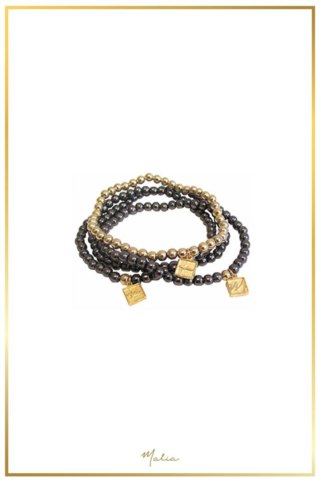 Malia Jewelry Golden Beads Bracelet - Front Cropped Image