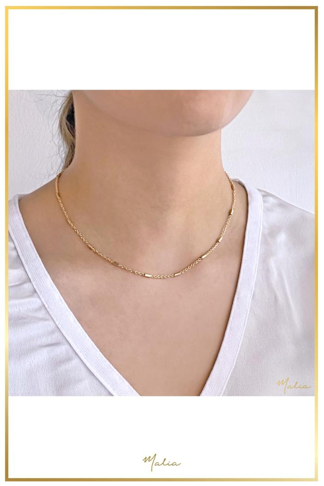Malia Jewelry Golden Links Choker Necklace - Front Full Image