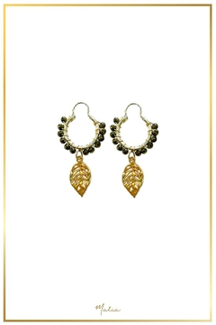 Malia Jewelry Hematite Tropical-Leaf Hoops - Product List Image