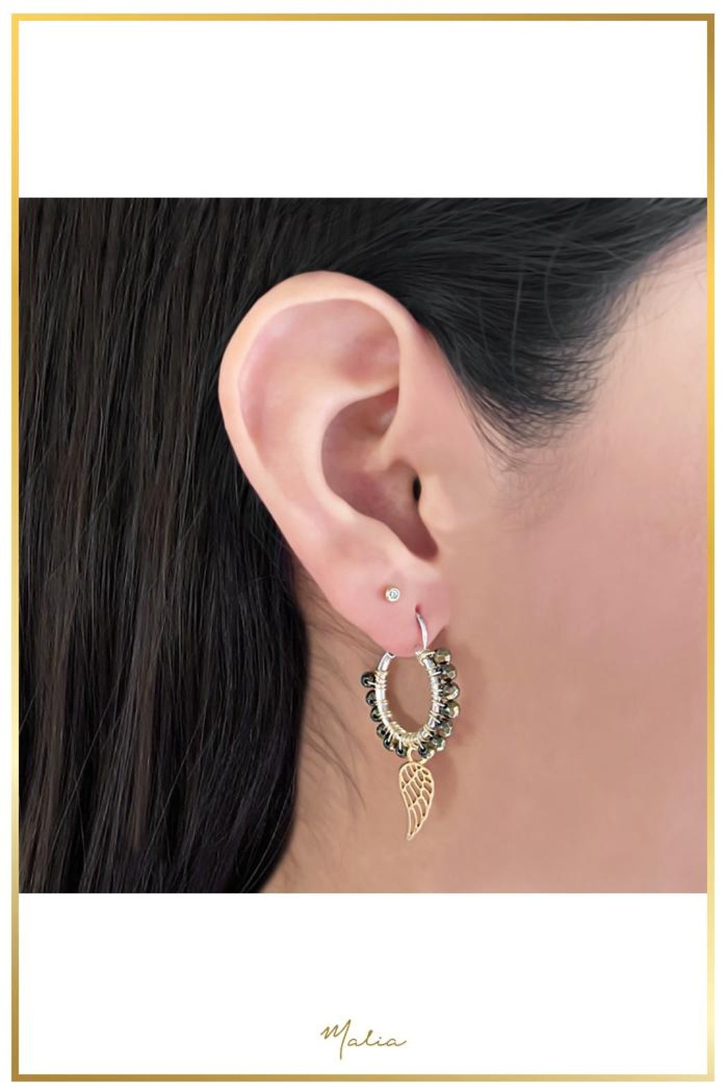 Malia Jewelry Hematite Tropical-Leaf Hoops - Front Full Image