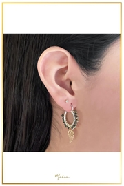 Malia Jewelry Hematite Wing Hoops - Front cropped