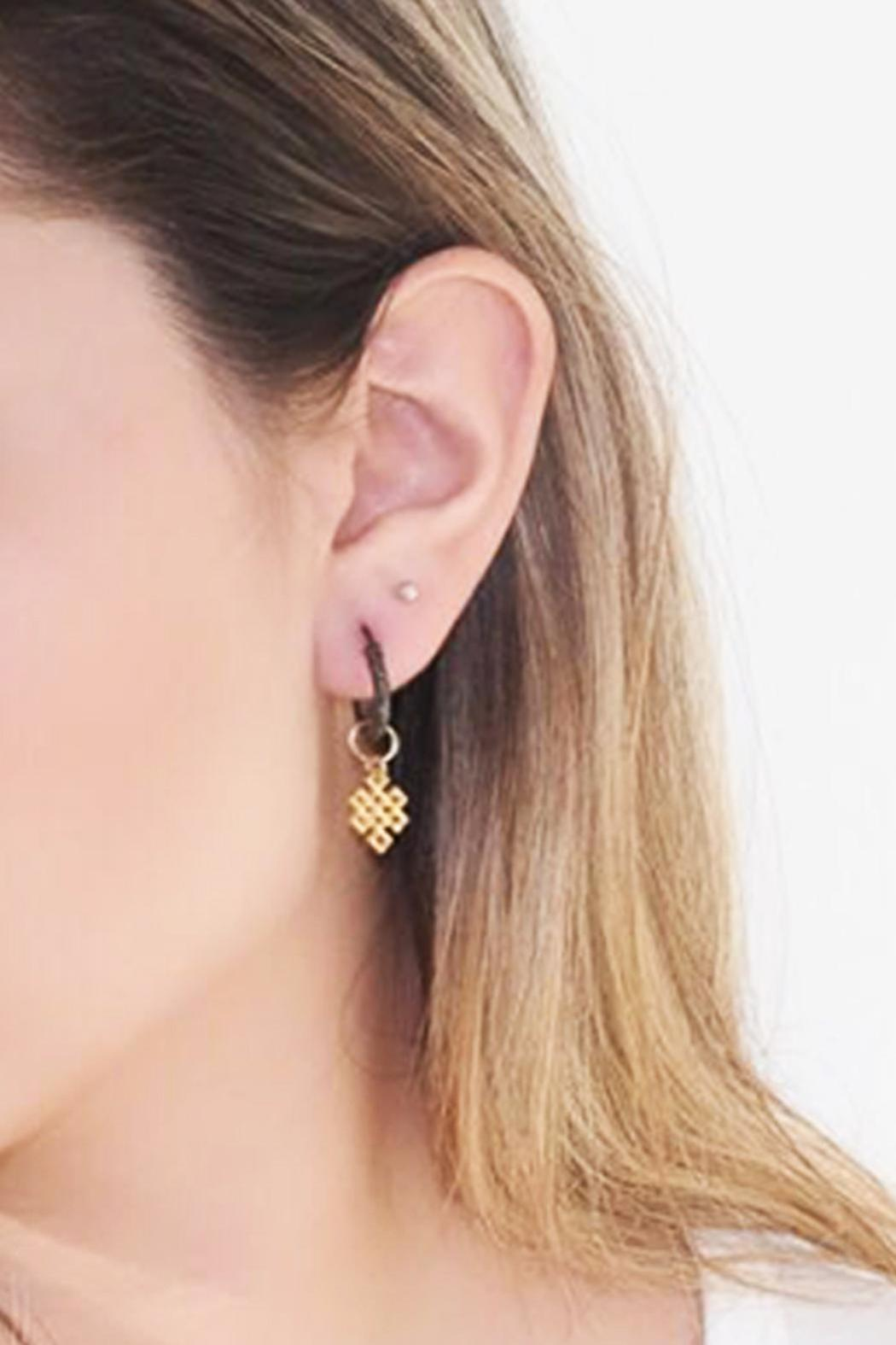 Malia Jewelry Love-Knot Black Hoops - Front Full Image