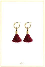 Malia Jewelry Maroon-Tassel Textured Hoops - Product Mini Image