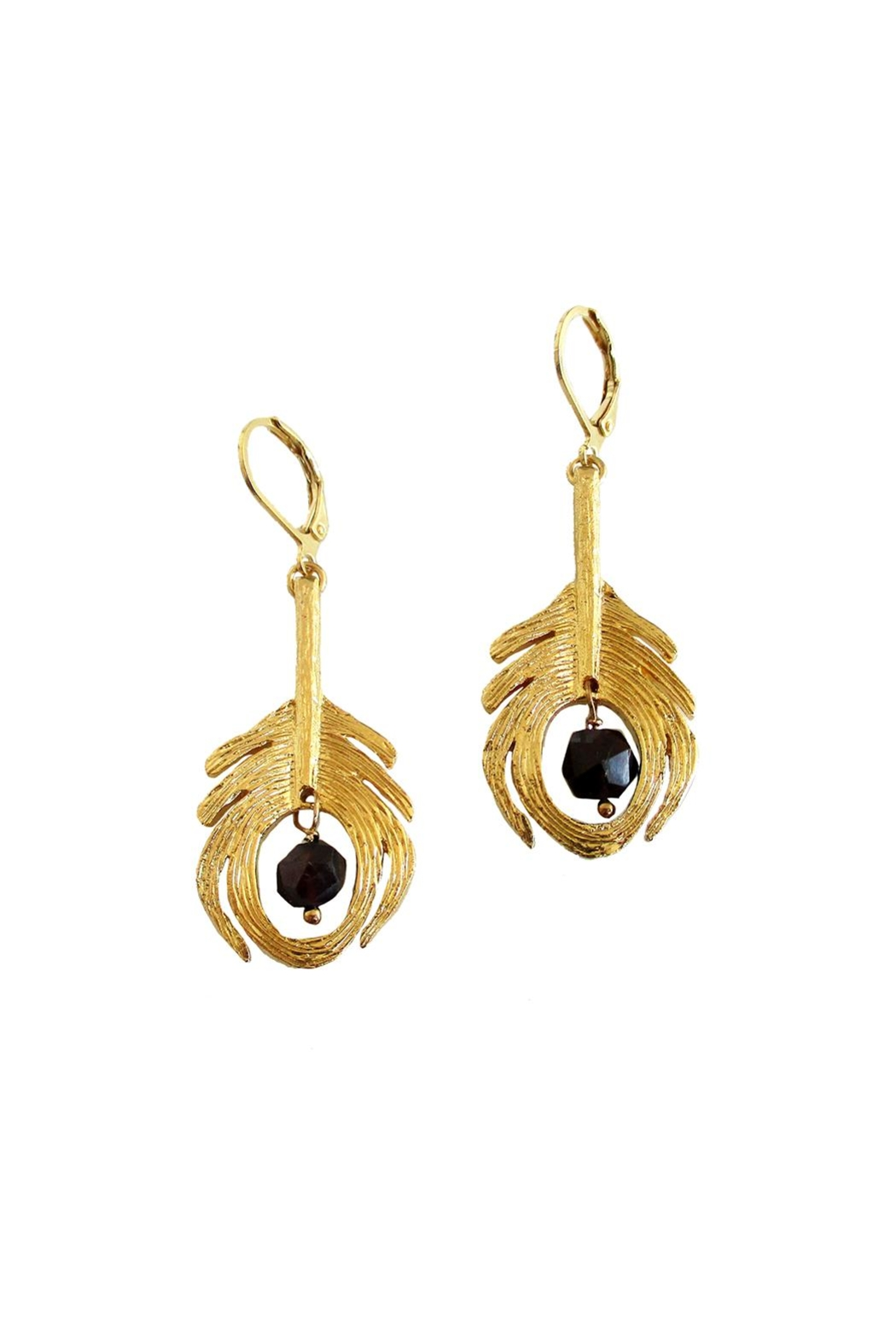 Malia Jewelry Peacock Black Earrings - Front Full Image