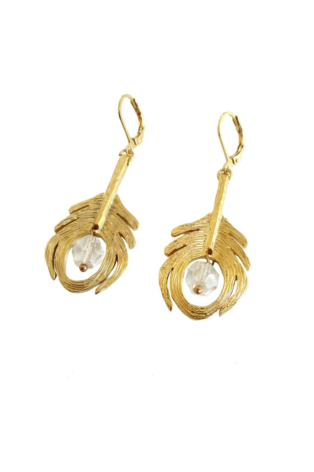 Malia Jewelry Peacock Crystal Earrings - Front Full Image