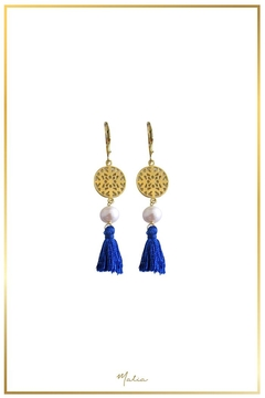 Malia Jewelry Pearl Blue-Tassel Earrings - Alternate List Image