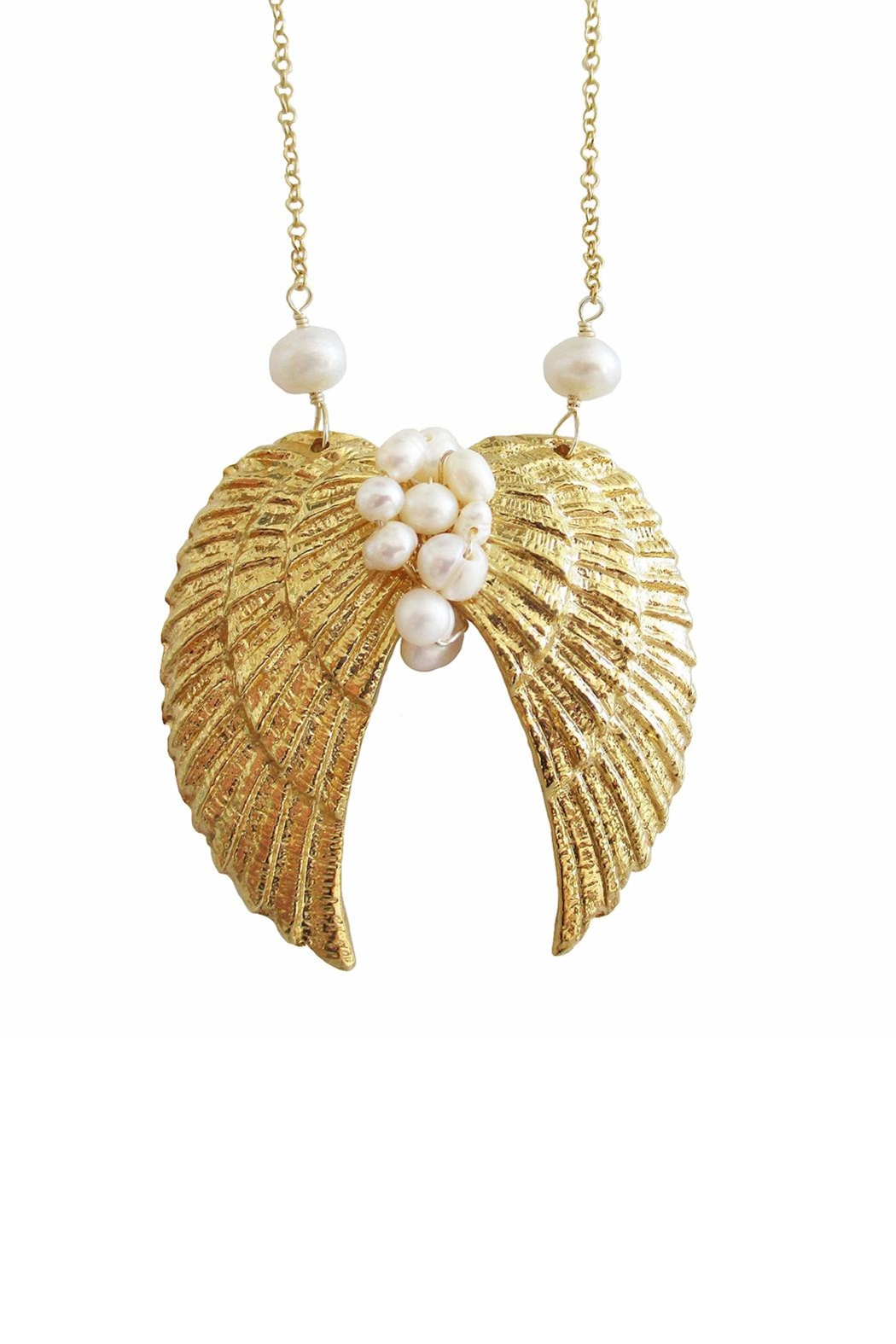 Malia Jewelry Pearls Wings Necklace - Front Full Image