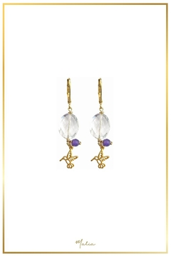 Malia Jewelry Quartz-Amethyst Hummingbird Earrings - Alternate List Image