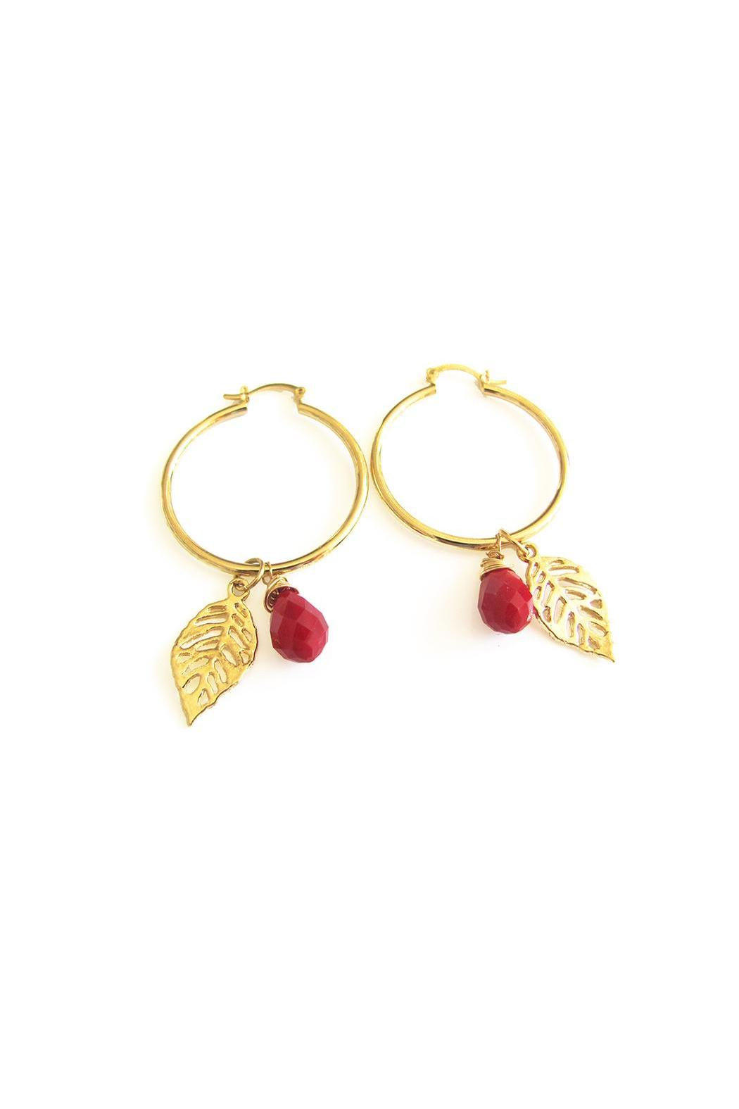 Malia Jewelry Red Tropical Hoops - Front Full Image