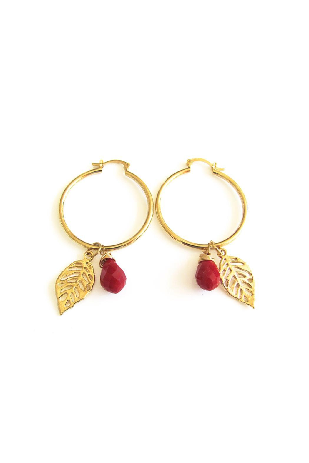 Malia Jewelry Red Tropical Hoops - Main Image