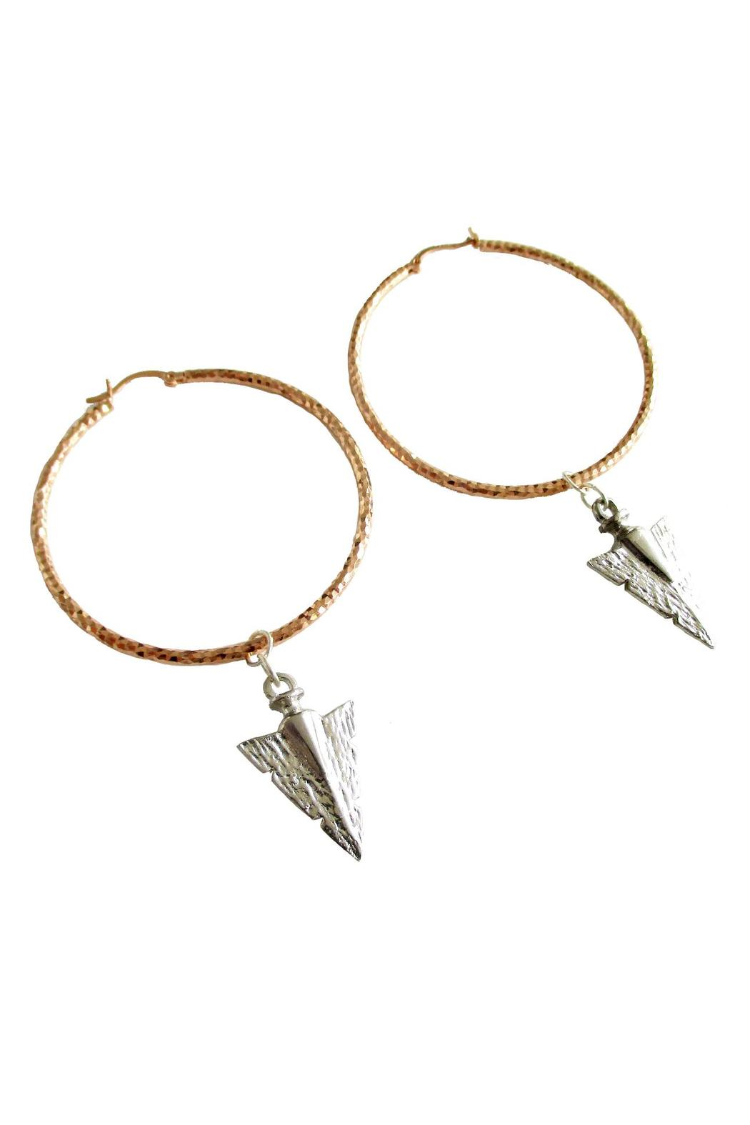 Malia Jewelry Rose-Gold Arrow Hoops - Front Full Image