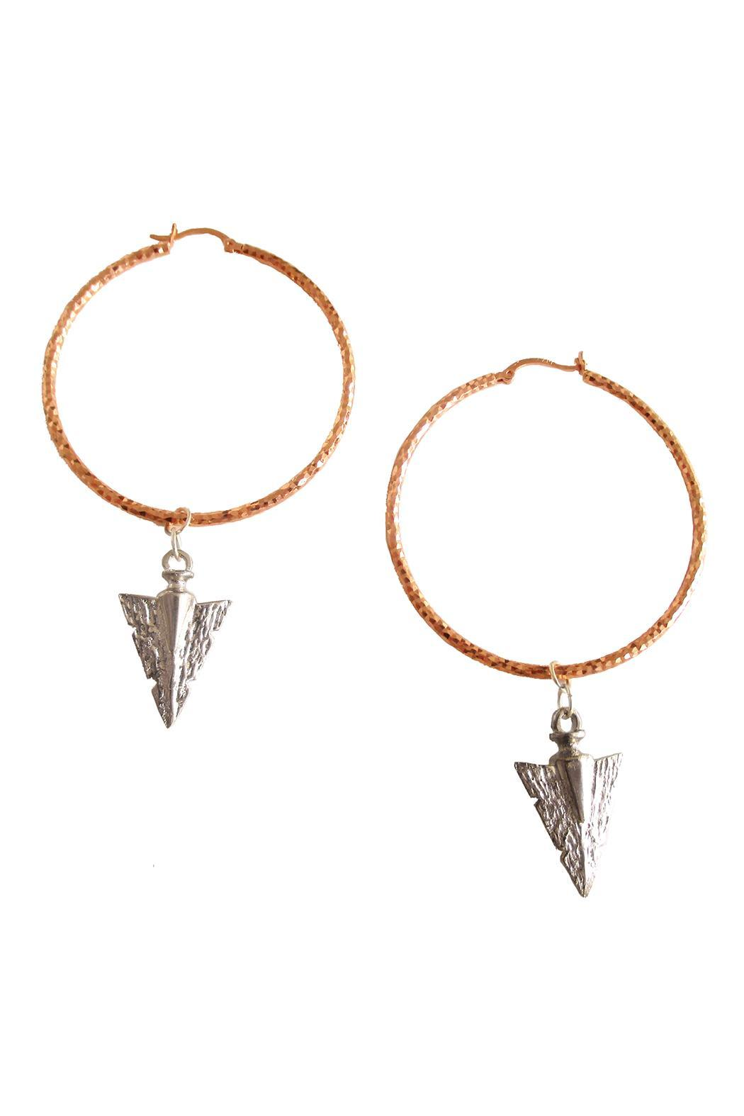 Malia Jewelry Rose-Gold Arrow Hoops - Side Cropped Image