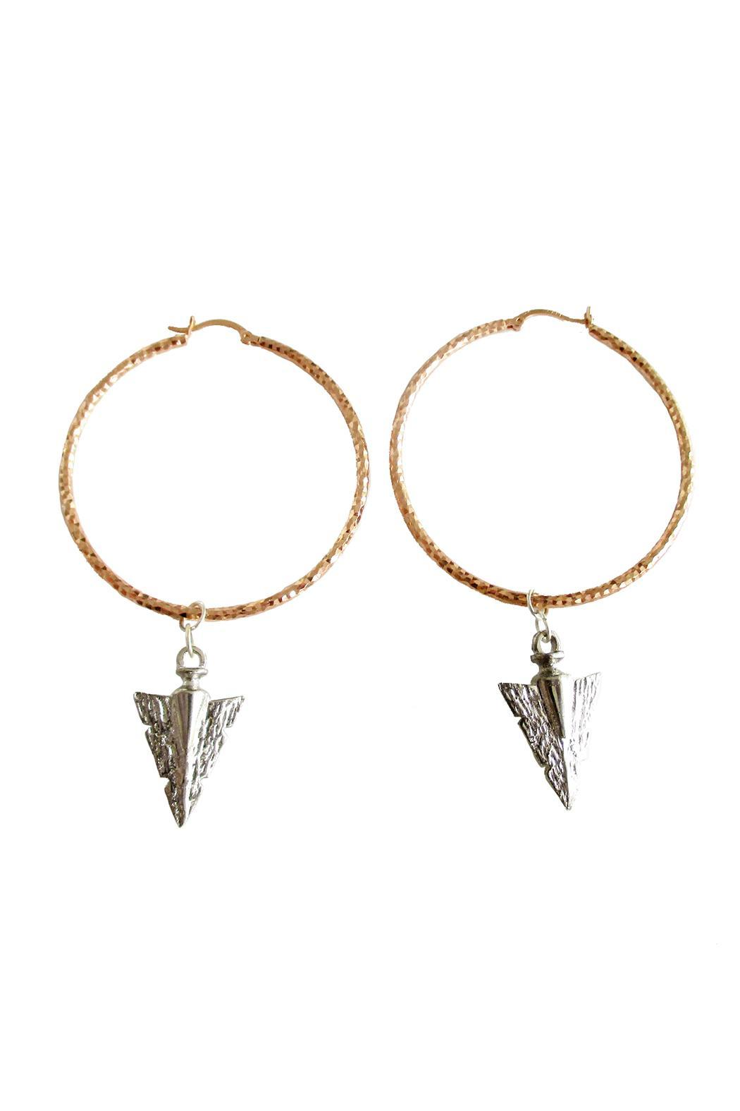 Malia Jewelry Rose-Gold Arrow Hoops - Front Cropped Image