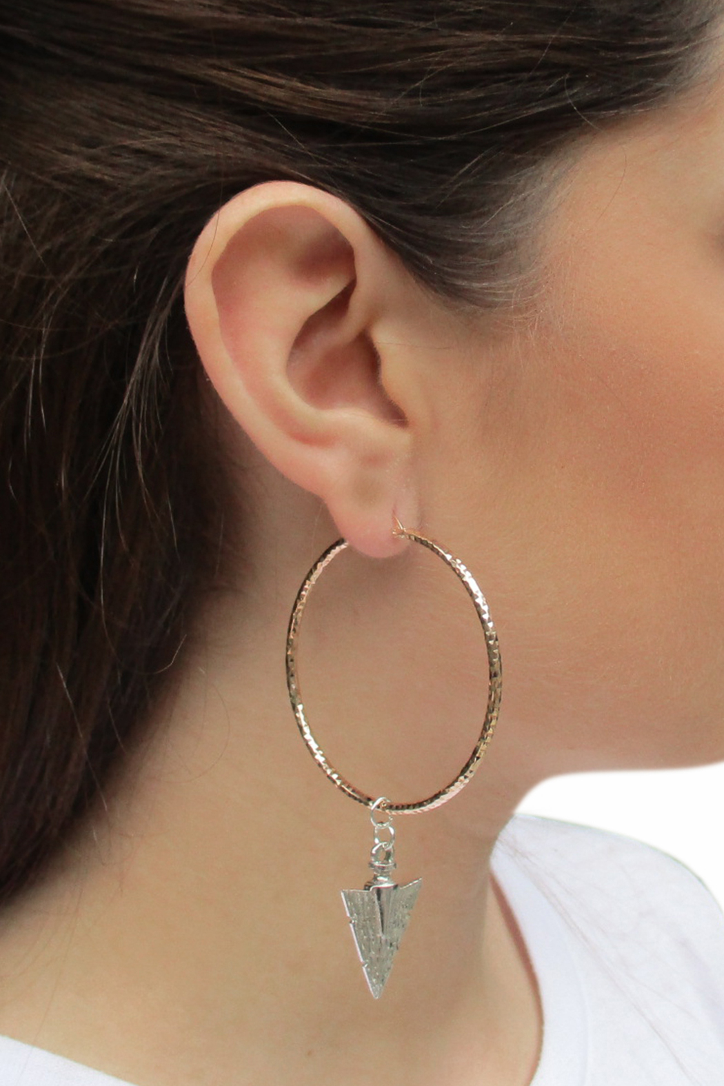 Malia Jewelry Rose-Gold Arrow Hoops - Back Cropped Image