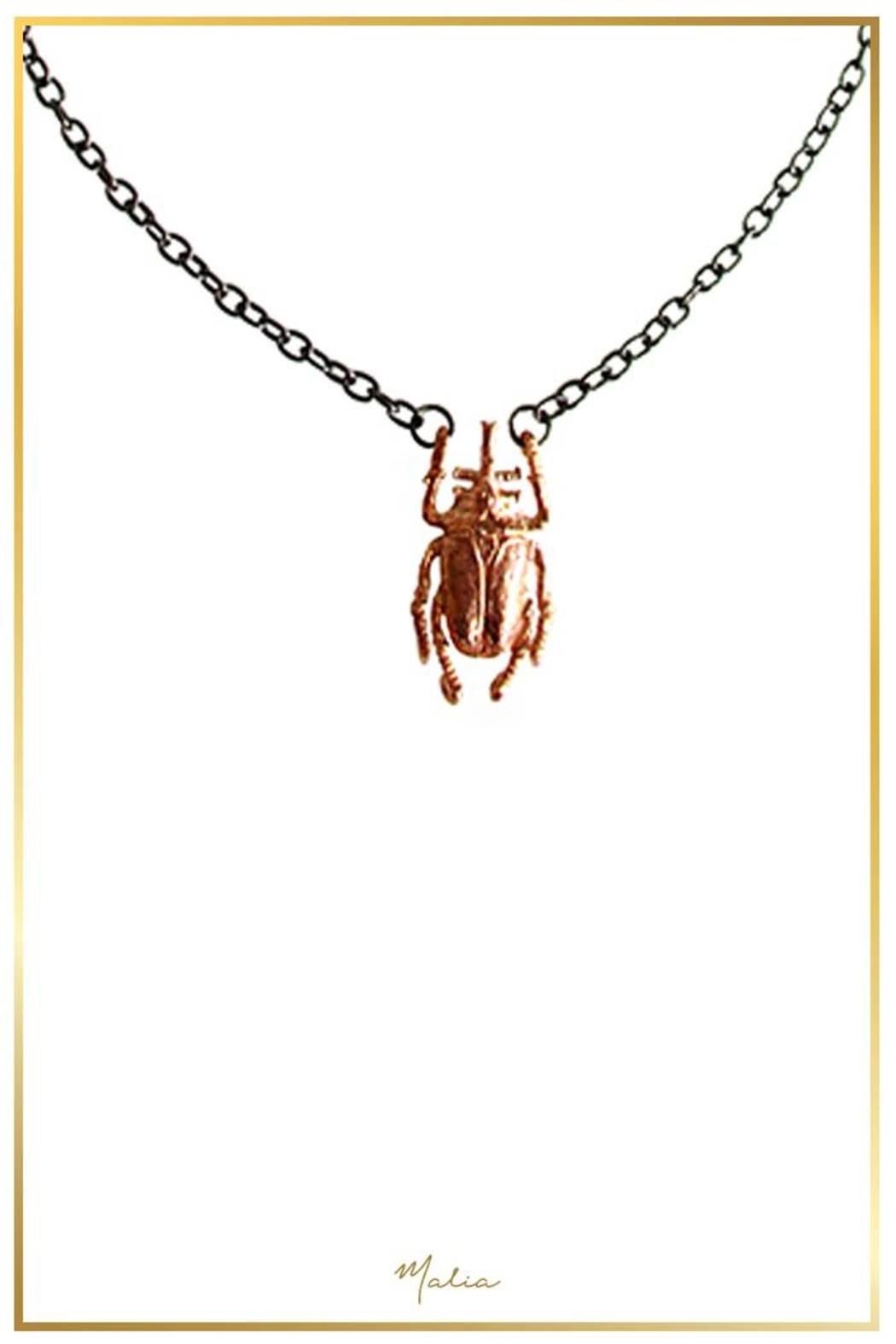 Malia Jewelry Rose Gold Beetle Necklace - Front Cropped Image