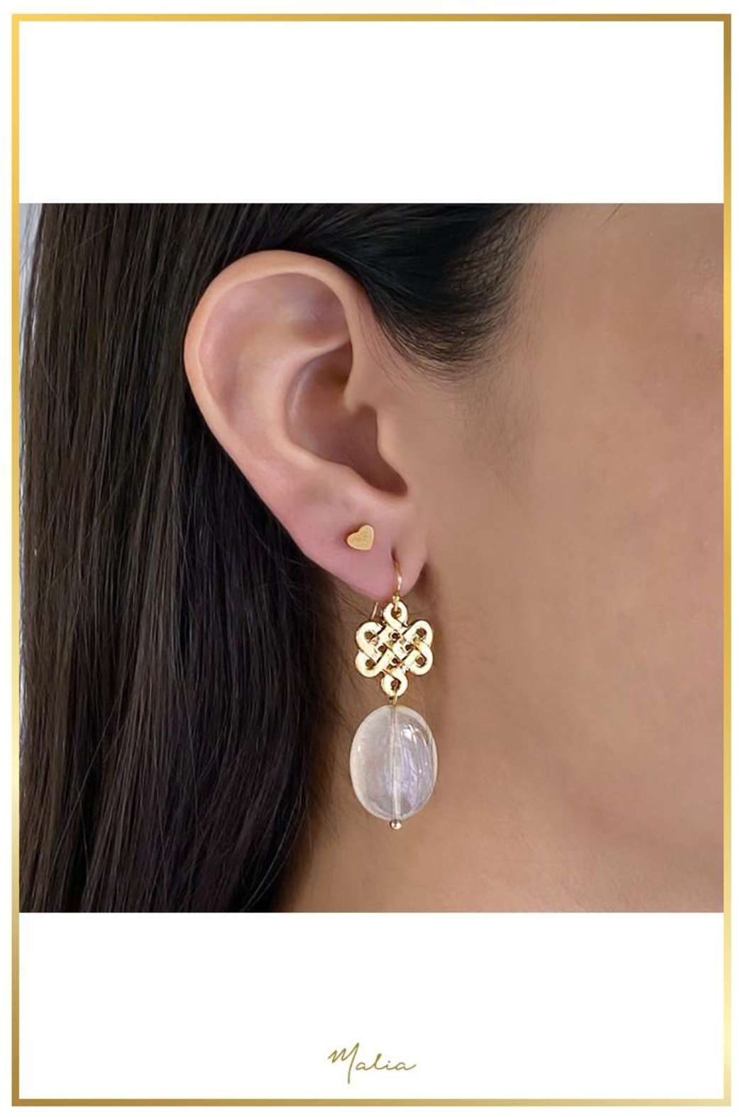 Malia Jewelry Rose Quartz Love-Knot Earrings - Front Cropped Image