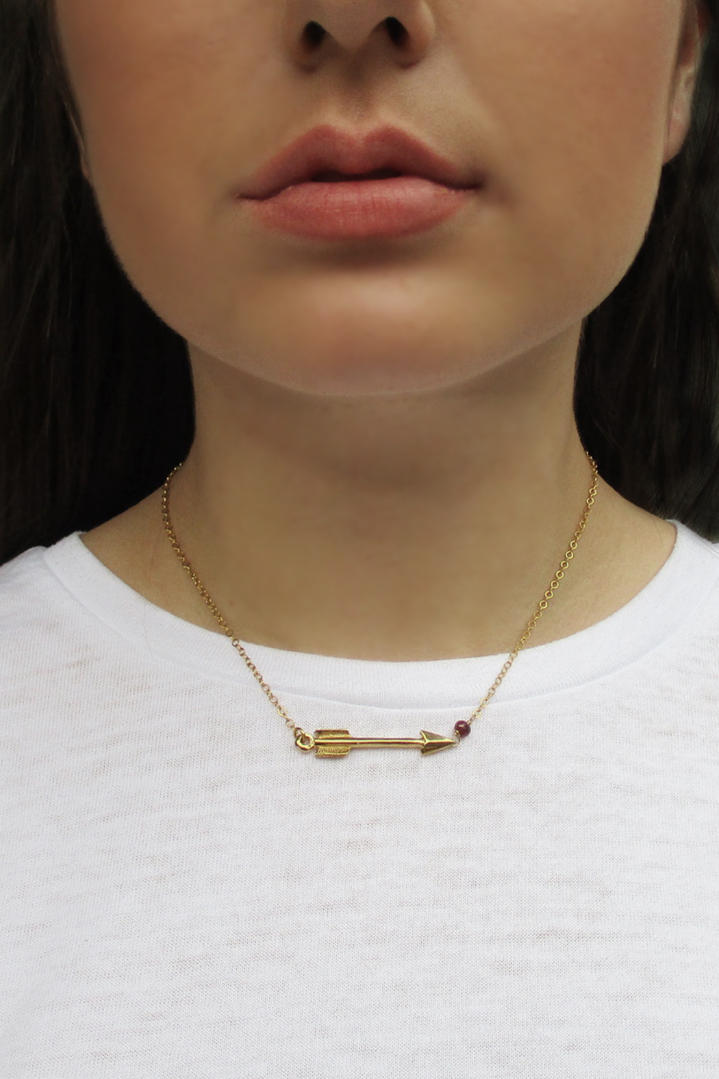 Malia Jewelry Ruby Arrow Necklace - Back Cropped Image