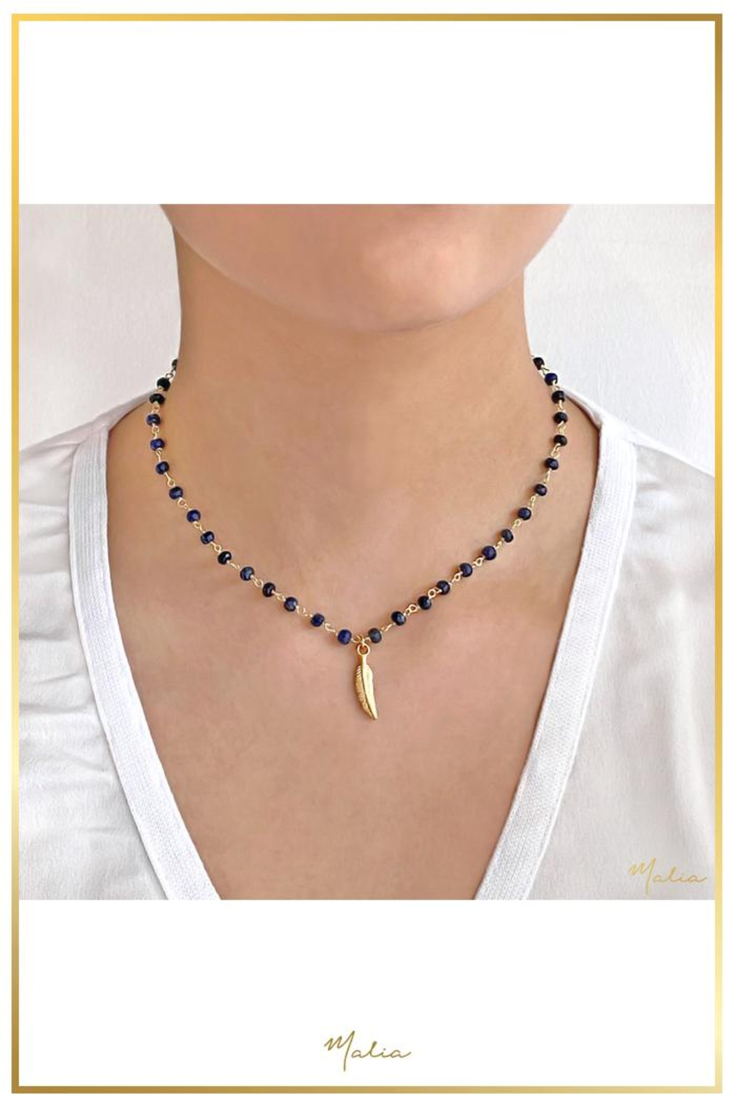 Malia Jewelry Sapphire Leaf Necklace - Front Full Image