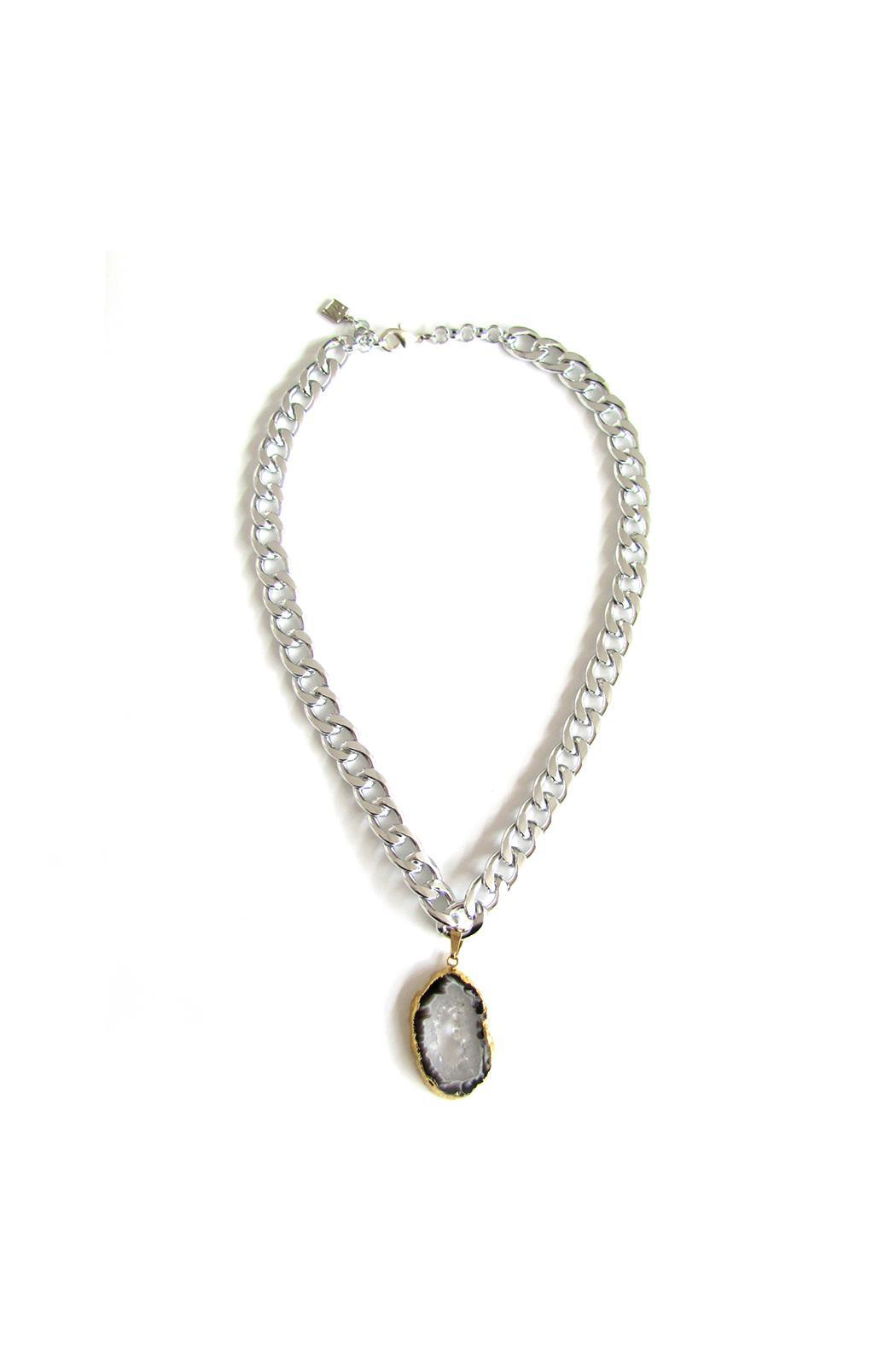 Malia Jewelry Silver Agate Necklace - Front Full Image