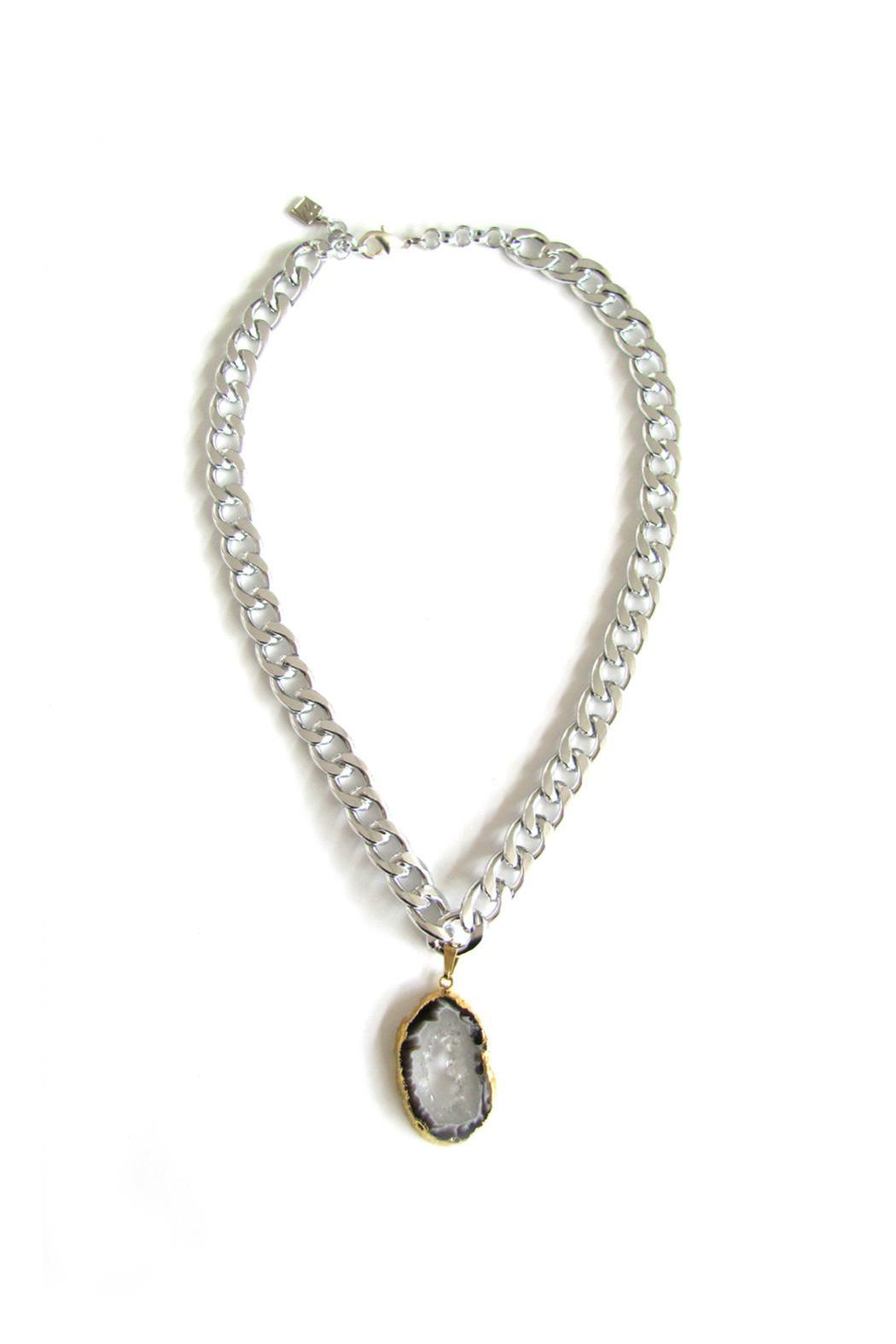Malia Jewelry Silver Agate Necklace - Main Image