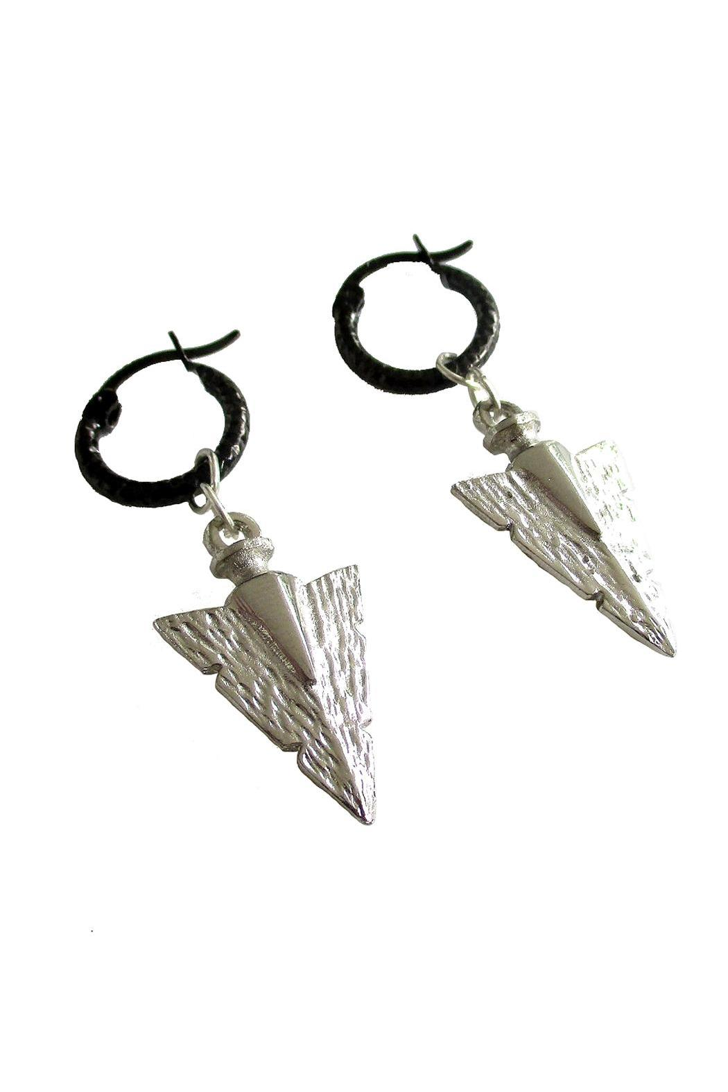 Malia Jewelry Silver Arrow Hoops - Front Full Image
