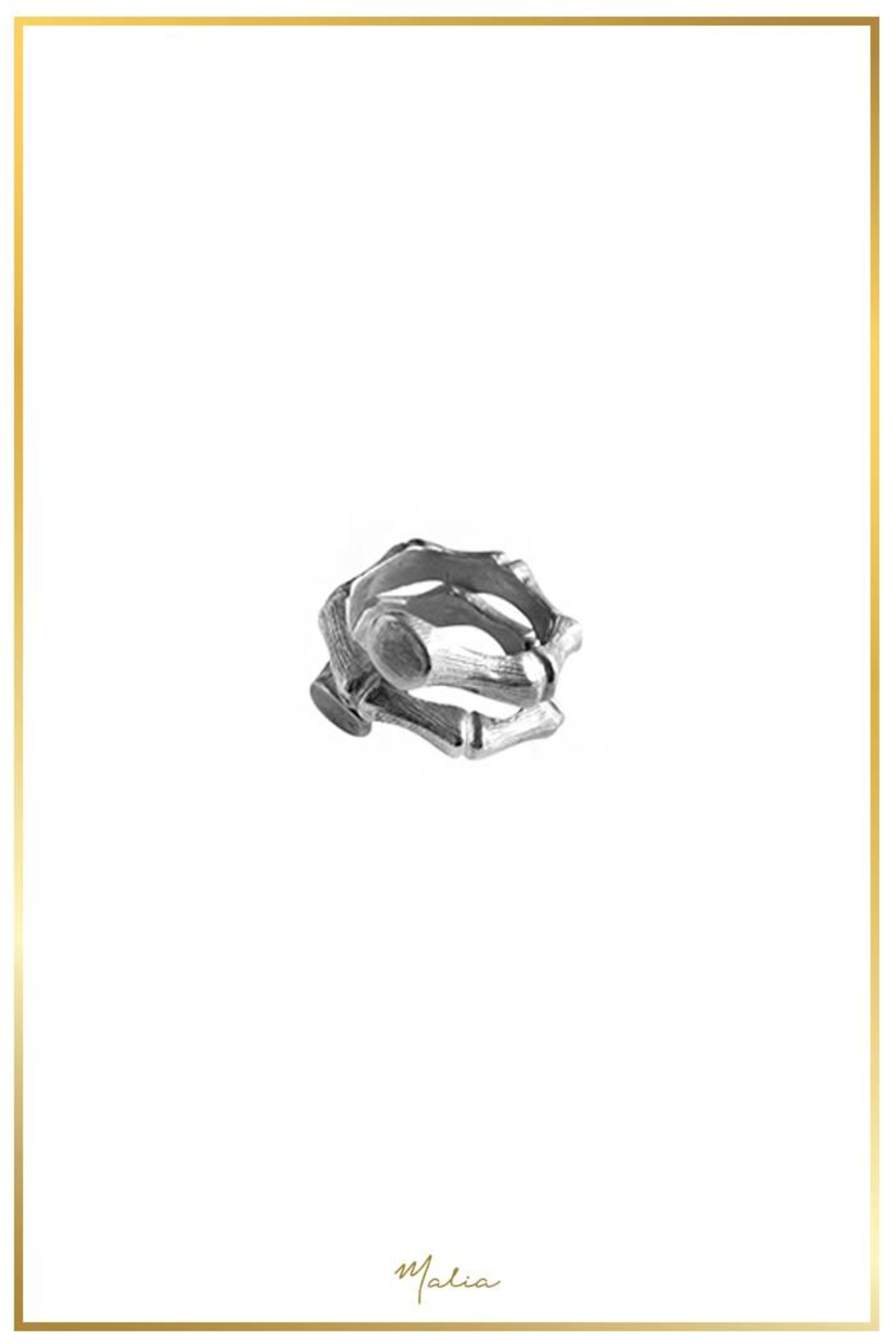 Malia Jewelry Silver Bamboo Ring - Front Full Image