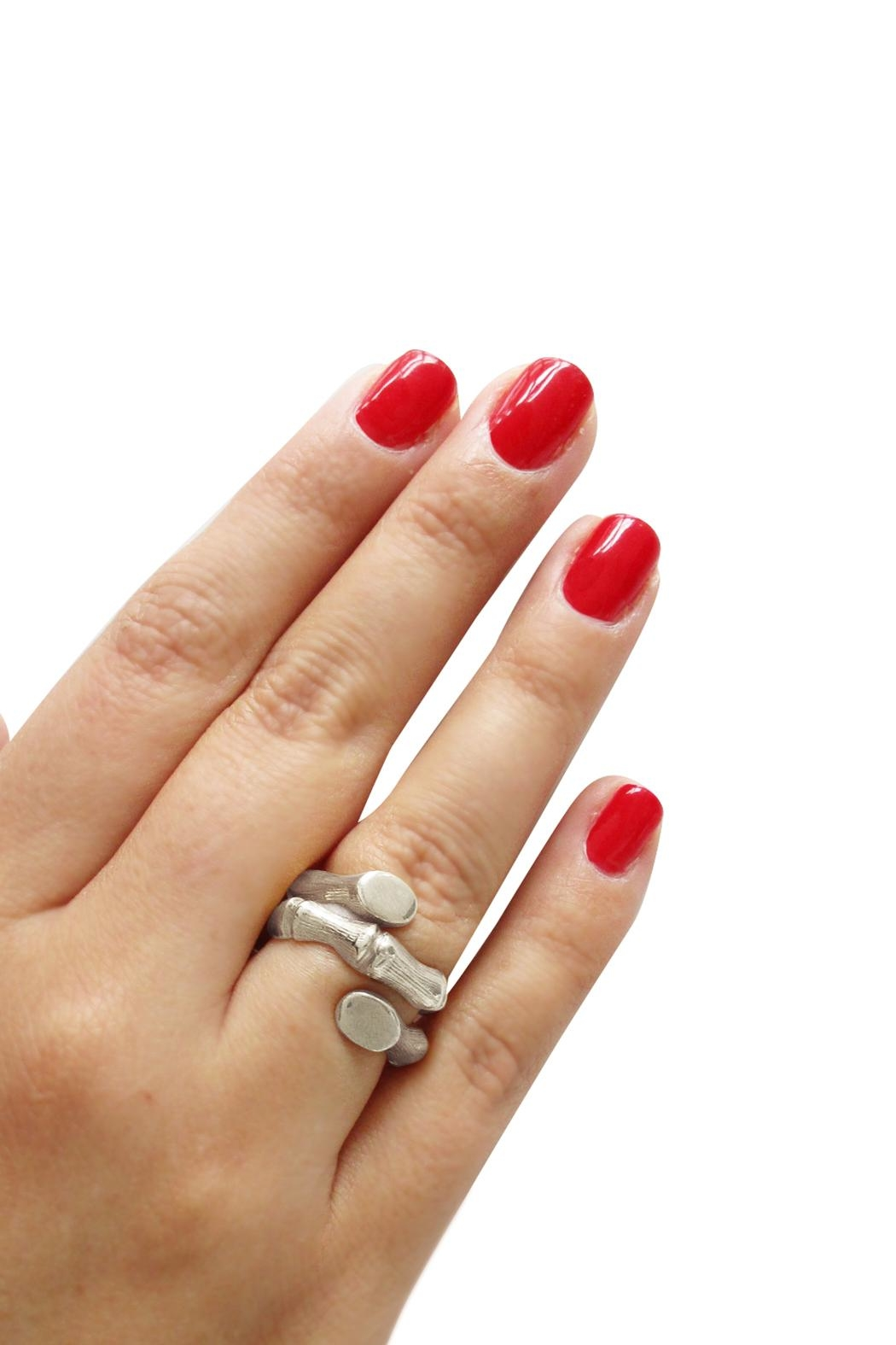 Malia Jewelry Silver Bamboo Ring - Back Cropped Image