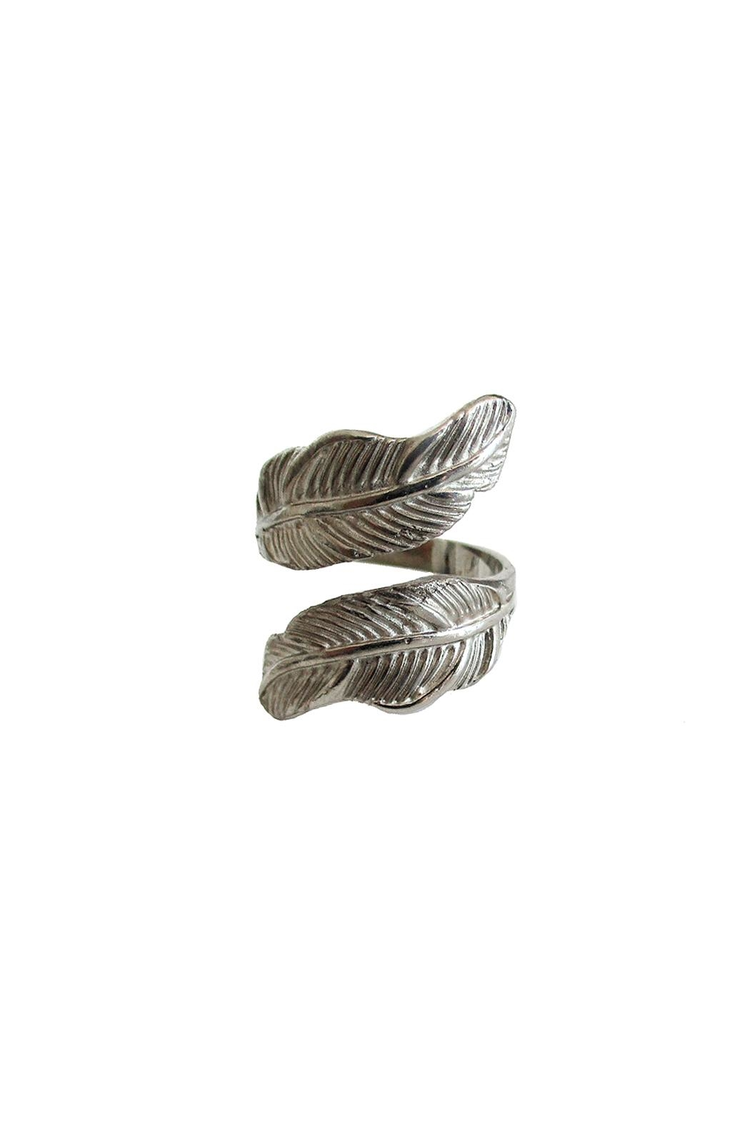 Malia Jewelry Silver Double Leaf Ring - Front Cropped Image