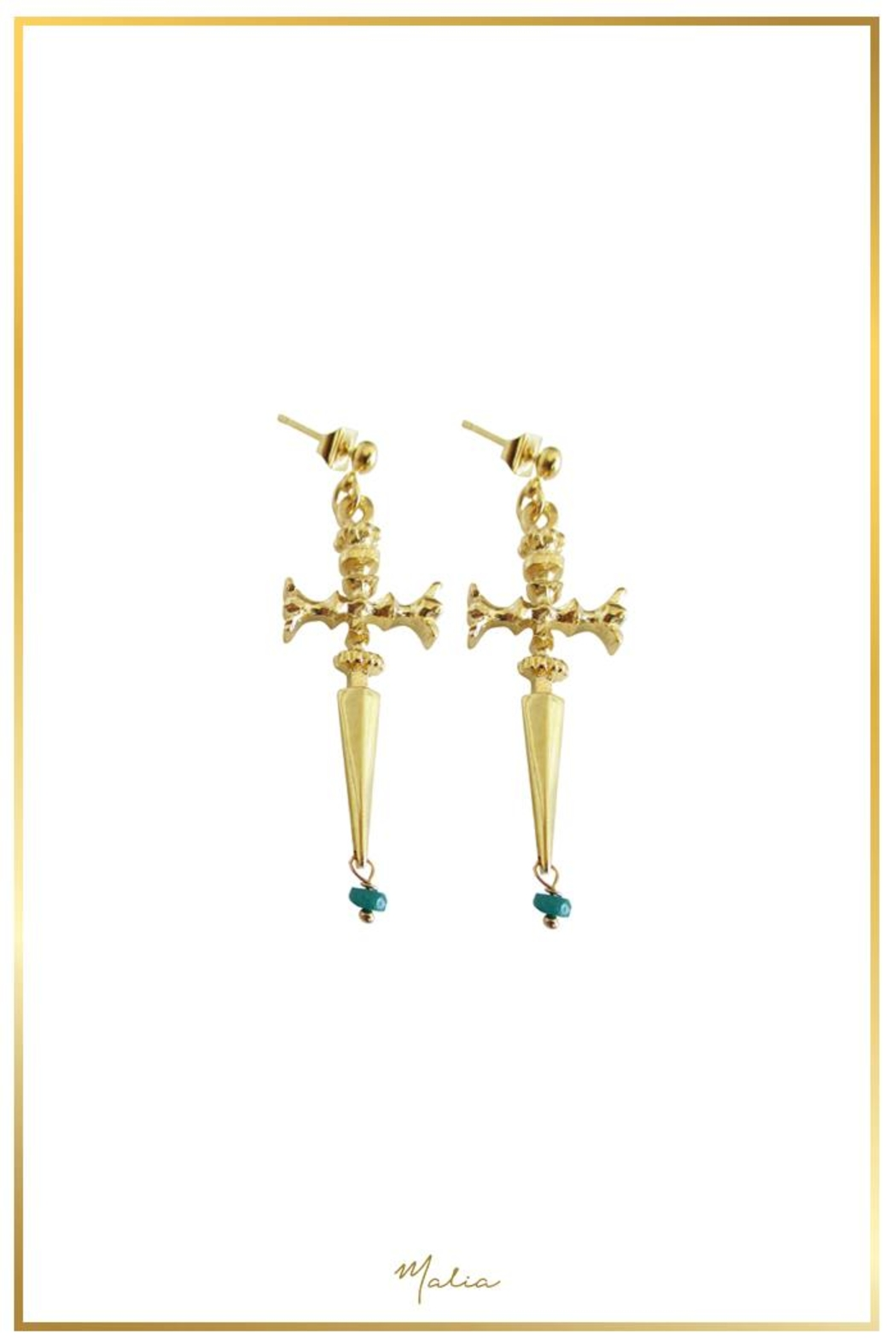 Malia Jewelry Sword Emerald Earrings - Main Image