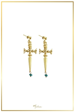 Malia Jewelry Sword Emerald Earrings - Alternate List Image