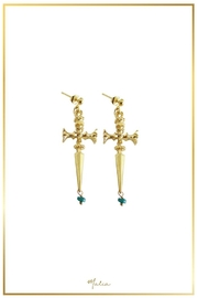 Malia Jewelry Sword Emerald Earrings - Front cropped