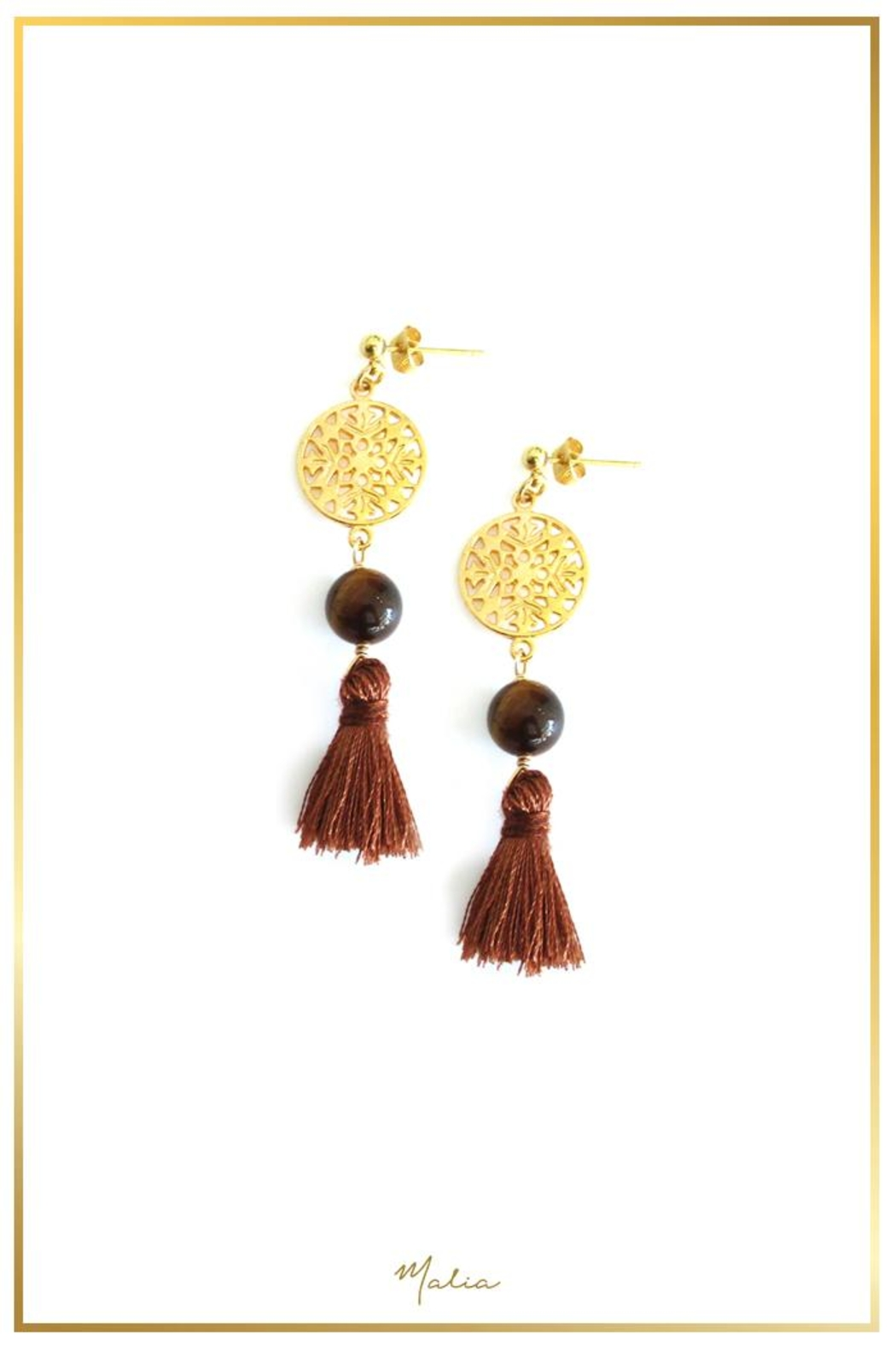 Malia Jewelry Tiger's Eye Brown-Tassle Earrings - Front Cropped Image