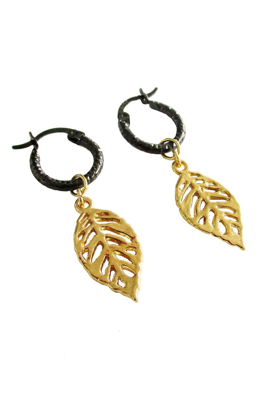 Malia Jewelry Tropical Black Hoops - Front Full Image
