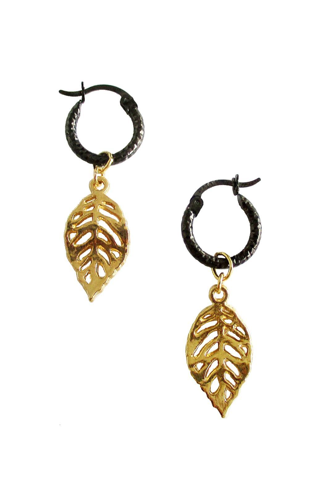 Malia Jewelry Tropical Black Hoops - Side Cropped Image