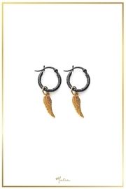 Malia Jewelry Wing Black Hoops - Product Mini Image