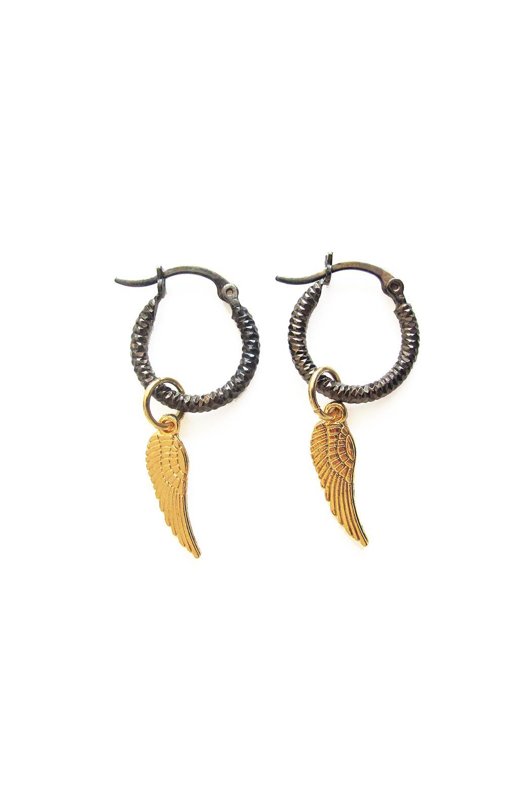 Malia Jewelry Wing Black Hoops - Front Full Image
