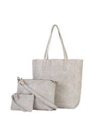 Mona B Mallory 3 Pc Vegan Leather Tote - Front cropped