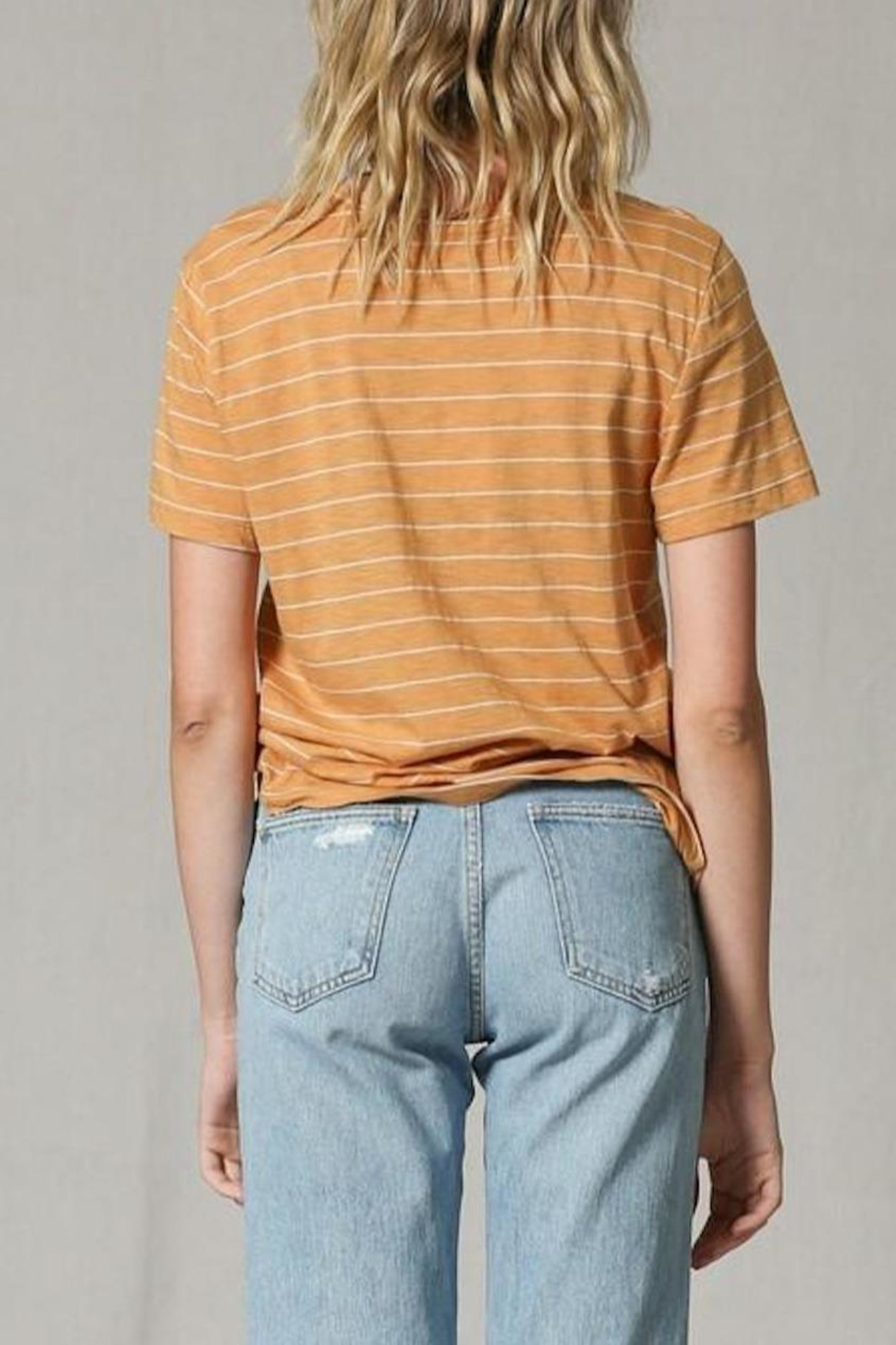 Blank Paige Mama-Knows-Best Striped T-Shirt - Back Cropped Image