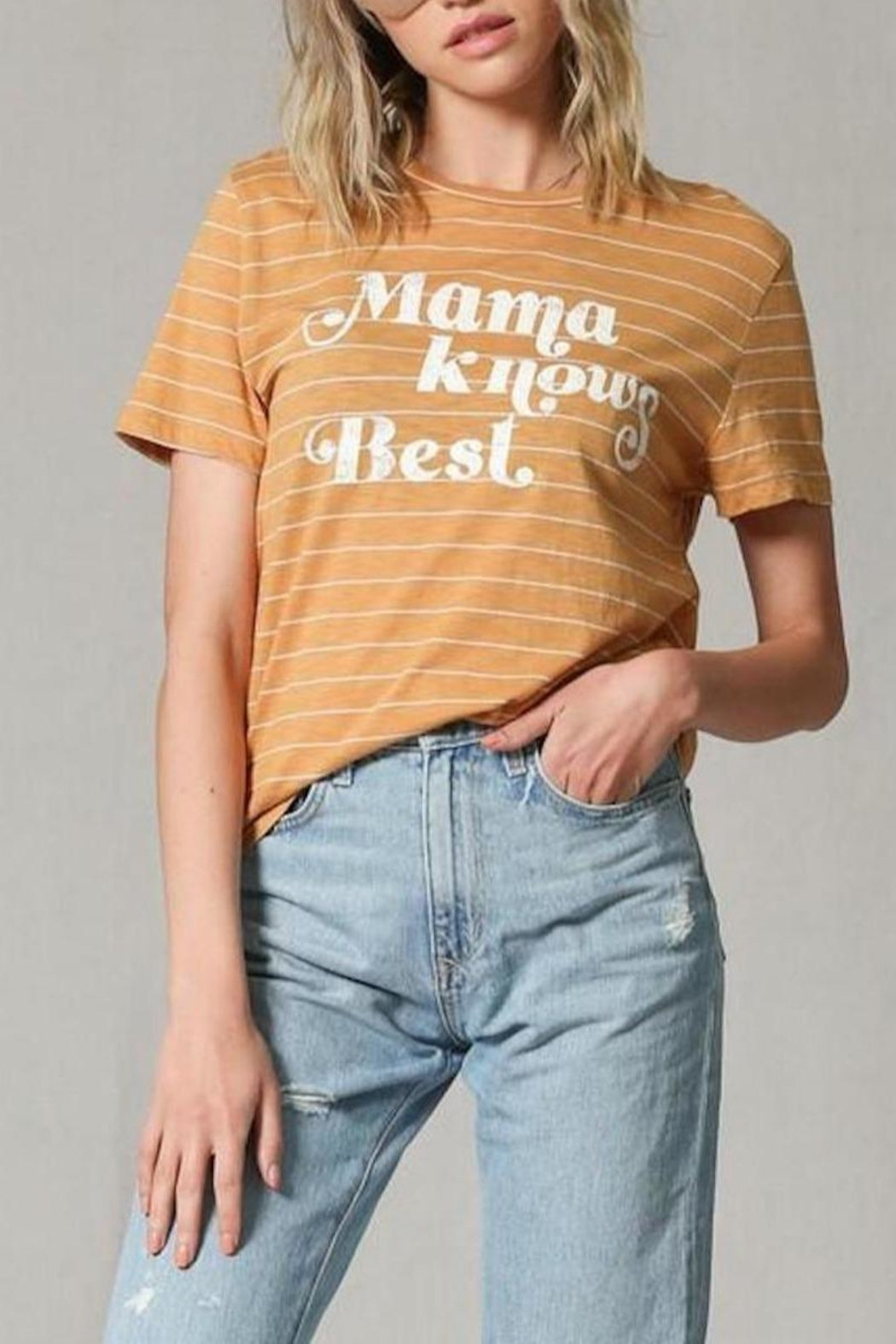 Blank Paige Mama-Knows-Best Striped T-Shirt - Front Full Image