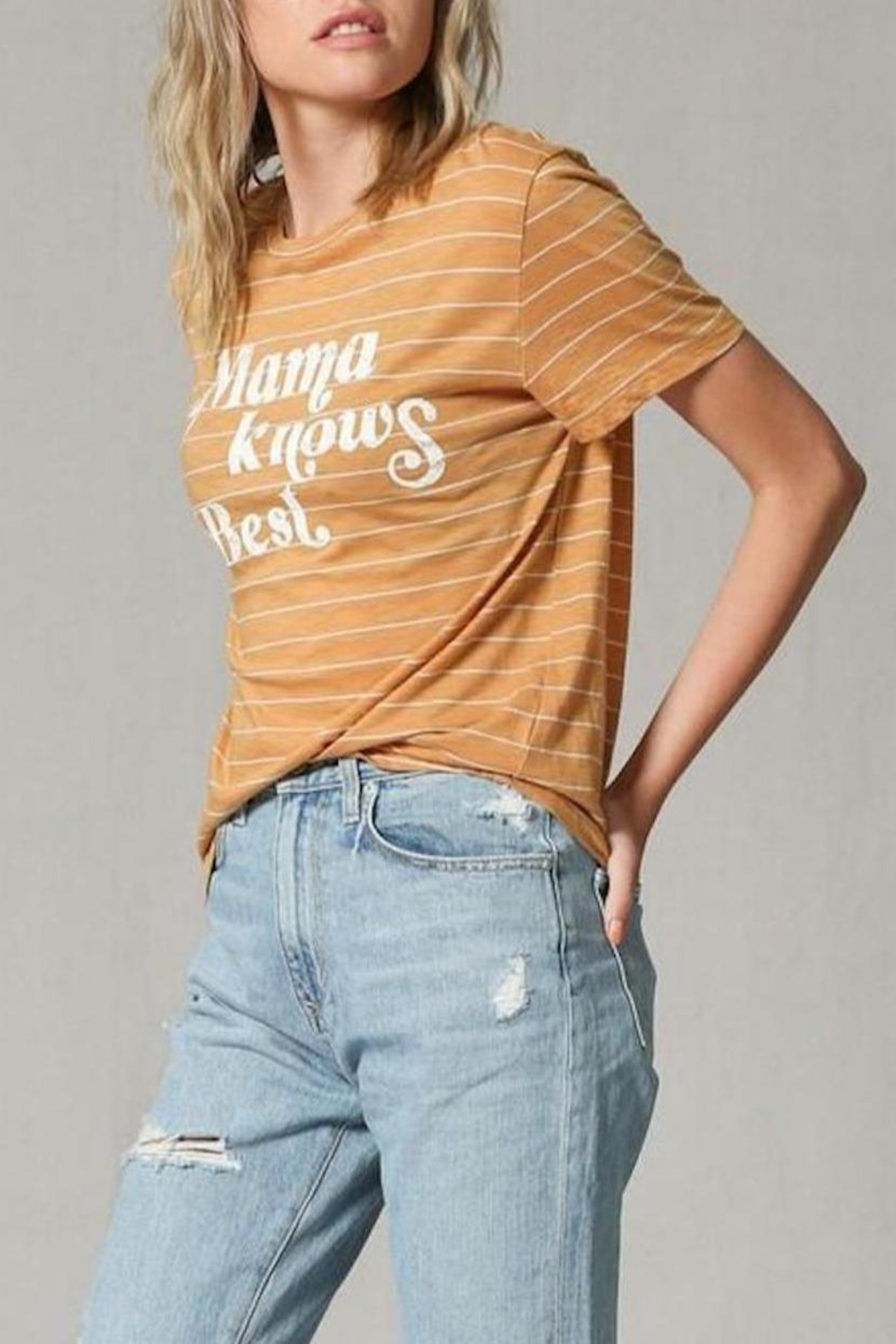 Blank Paige Mama-Knows-Best Striped T-Shirt - Side Cropped Image