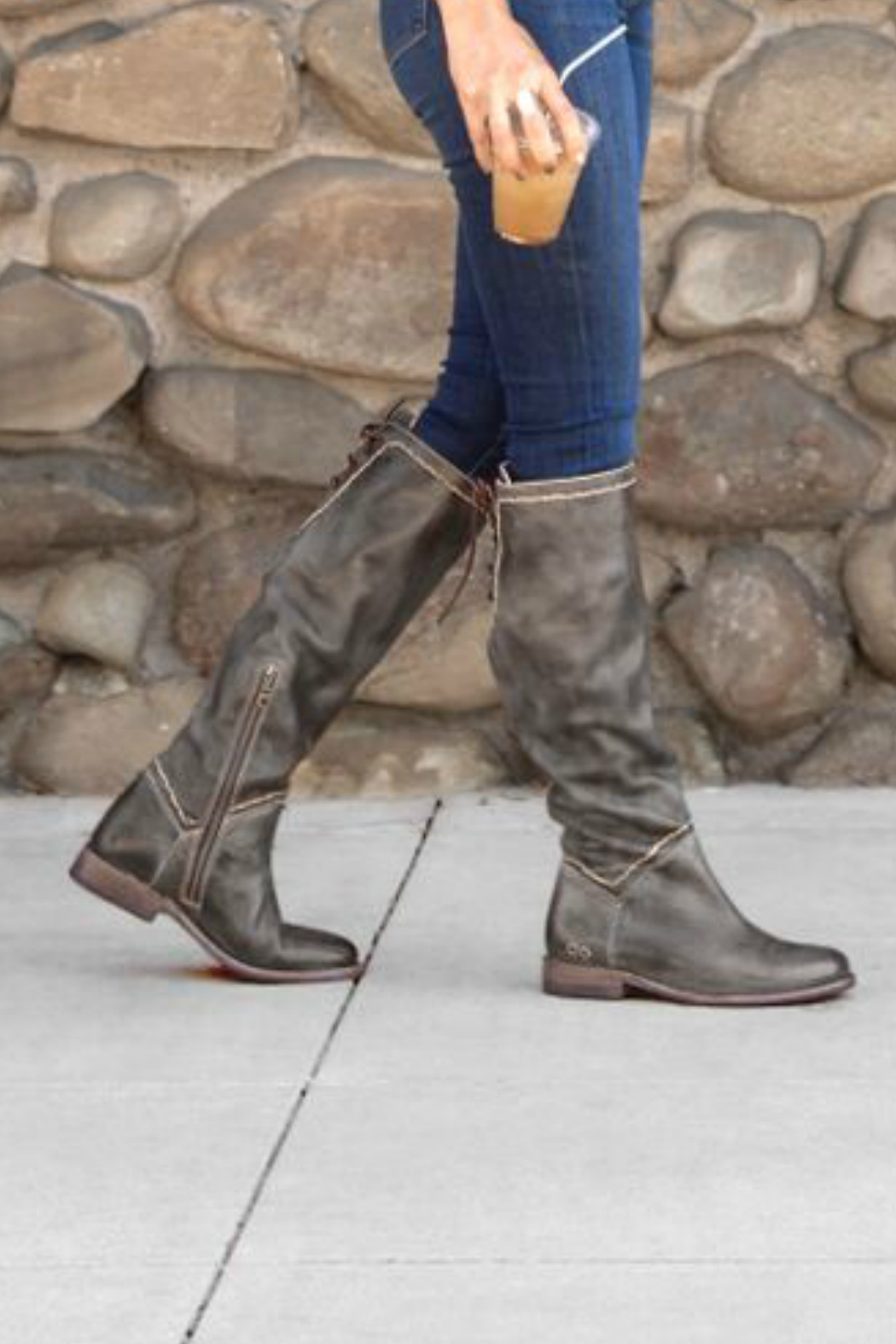 BED STU Manchester Back Lace Tall Boot - Front Full Image