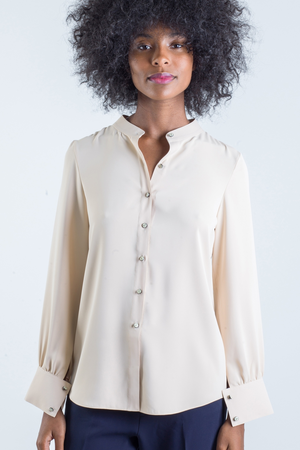831MinhLe Mandarin Collar Blouse - Front Cropped Image