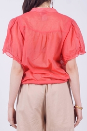 NU New York Mandarin Red Top - Side cropped