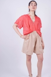 NU New York Mandarin Red Top - Back cropped